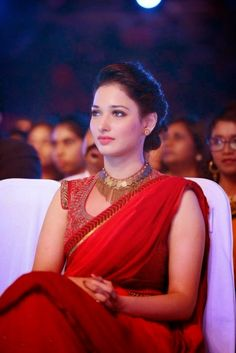 South Indian , Bollywood Actress and Models: Tamanna Bhatia Red Saree SIIMA 2014 Awards Photos Gallery