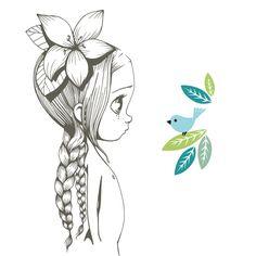Découvrez le superbe sticker grand format Wild girl 06 d'Emmanuelle Colin pour sublimer la chambre d'une princesse !