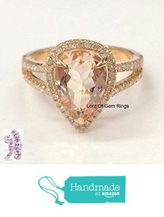 Pear Morganite Engagement Ring Pave Diamond Wedding 14K Rose Gold 8x12mm from the Lord of Gem Rings https://www.amazon.com/dp/B01GVRF9QU/ref=hnd_sw_r_pi_dp_ieVxxbN0RDTTX #handmadeatamazon