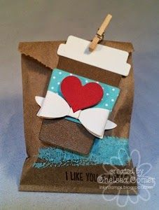 I Like You A Latte Treat Bags featuring Perk Up Dies, Brushstroke Stamp, Need to Venti Stamp, Mini Bow Dies, and Kraft Mini Bags.  Chelsea Comer, A Muse Creative Consultant #1348