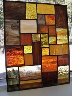 Stained Glass Pojagi in neutral brown shades- livingroom
