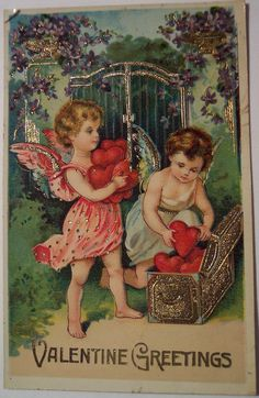 Valentine Cupids Putting Hearts in Gold Chest Postcard Valentine Cupid, Valentine Images, Valentines Greetings, Vintage Valentine Cards, My Funny Valentine, Valentines Day Hearts, Vintage Greeting Cards, Valentine Crafts, Valentine Day Cards