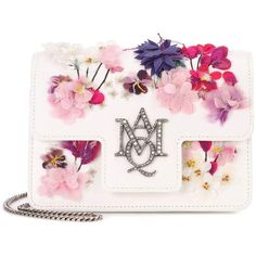 Alexander McQueen Embellished Leather Shoulder Bag ($2,060) ❤ liked on Polyvore featuring bags, handbags, shoulder bags, white, leather shoulder bag, white leather handbags, genuine leather purse, white purse and shoulder handbags