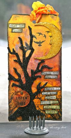 Spooky & Sparkly tree and moon tag - Anne's paper fun