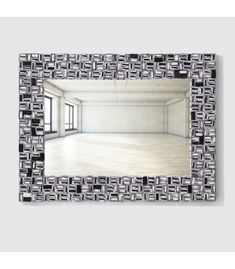 This unique mirror features recycled paper artistically arranged to create a special handmade wall art piece in Mirror Paper, 3d Mirror, Black Mirror, 3d Paper Art, Unique Mirrors, Framed Art, Wall Art, Picture Tag, Colored Paper