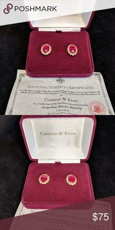 Camrose & Kross CZ and Ruby Earrings Jacqueline Kennedy Jewelry, Jackie Kennedy, Windsor Castle, Ruby Earrings, Coin Purse, Stones, Jewels, Tags, Box