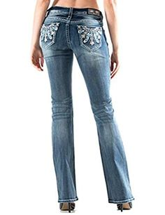 Turquoise Feather Boot Cut Jeans