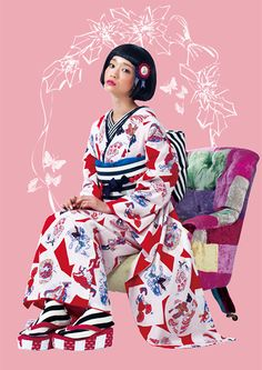 kh-150:レトロモダン Kimono Japan, Yukata Kimono, Japanese Geisha, Japanese Kimono, Japanese Textiles, Harajuku Fashion, Japan Fashion, Estilo Harajuku, Cute Kimonos