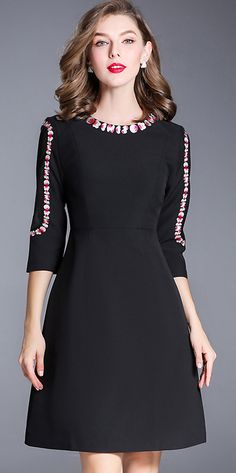 Elegant O-Neck 3/4 Sleeve Embroidered A-Line Dress