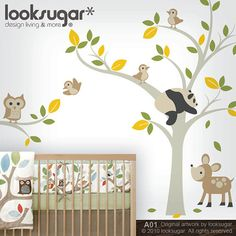 http://www.etsy.com/listing/103664193/forest-animal-decals-tree-decals-with?ref=sr_gallery_11_search_query=owl+wall+decal_view_type=gallery_ship_to=ZZ_min=0_max=0_page=26_search_type=all    Forest Animal Decals - Tree Decals with Owl, Panda, Deer and Birds - Baby Nursery Wall Decal - 0041. $125.00, via Etsy.