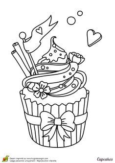 Un cupcake magique avec un petit drapeau posé au sommet, un dessin à colorier avec amour
