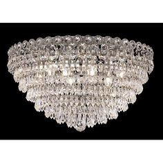 Century Prism Chrome Nine-Light 20-Inch Flush Mount with Royal Cut Clear Crystal