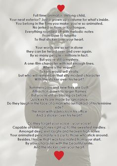A poem written by Emma Tyzack for Nick Pitera. Really cute. It captures his character.(: