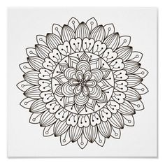 Spend some time relaxing with this coloring page for adults. Once finished, you can hang it on your wall or give it as a gift. Coloring is known to reduce tension and stress, so get started on de-stressing with this piece of art. #zazzlemade #mandala #coloringpage #coloring #coloringforadults #poster Mandala Motif, Flower Mandala, Mandala Pattern, Mandala Art, Mandala Coloring Pages, Coloring Book Pages, Sunflower Coloring Pages, Motif Vector, Vector Free