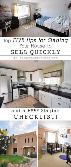 FIVE tips for Staging Your House to Sell Quickly + a FREE checklist! Great tips to help you get your home ready to sell. #moving #relocation #packing #GoodMove #movingwithkids