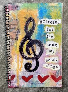 Grateful for the Song 5.5 x 8.5 Coil Bound   Etsy Express Gratitude, Practice Gratitude, Coil Binding, Pet Sympathy Cards, Pet Loss, Condolences, Life Humor, That Way