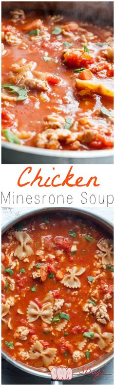 Chicken Minestrone Soup. The perfect soup for a healthy, delicious weeknight dinner. || www.3boysunprocessed.com