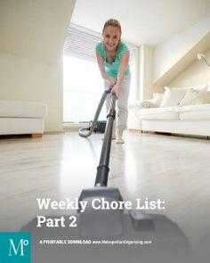 PART 2 - Checklist of Tiny Tasks   Weekly Chores   Metropolitan Organizing®