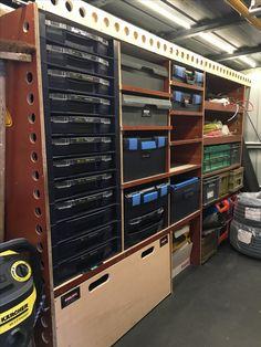 Van Storage, Tool Storage, Garage Storage, Locker Storage, Shop Cabinets, Diy Cabinets, Garage Workshop, Workshop Ideas, Van Shelving
