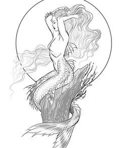 27 ideas for drawing mermaid fantasy sirens Mermaid Sketch, Mermaid Drawings, Mermaid Art, Mermaid Tail Drawing, Mermaid Tattoo Designs, Mermaid Tattoos, Fantasy Kunst, Fantasy Art, Sirene Tattoo