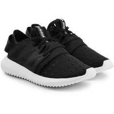 Adidas Originals Tubular Viral Sneakers ($115) ❤ liked on Polyvore featuring shoes, sneakers, black, lightweight shoes, lace up sneakers, adidas originals sneakers, strap sneakers and black shoes