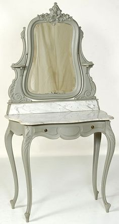 Antique French Louis XV Painted Vanity | Antique Vanities | Inessa Stewart's Antiques