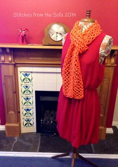 Crochet summer scarf orange