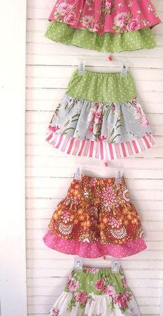 Ruffle skirts tutorial - I know a little girl who would LOVE   http://beautifulskirtsjulian.blogspot.com