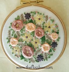 A little floral embroidery. Working on a few projects for my new embroidery book  #embroidery #needlework #stitching #fiberart #hoopart #florals