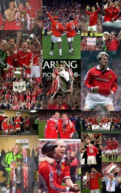 Photo Collage of the Day: May Manchester United claim the Premier League title with a win over Spurs at Old Trafford, finishing the season a point ahead of Arsenal. One step toward the historic Treble. I Love Manchester, Manchester United Wallpaper, Manchester United Players, Manchester United Football, Classic Football Shirts, Retro Football, Eric Cantona, Sir Alex Ferguson, Premier League Champions