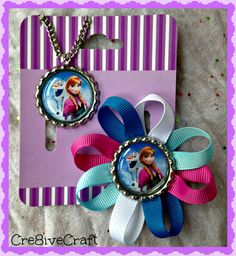 Olaf and Ana hair clip and necklace by Cre8iveCraft on Etsy, $7.00