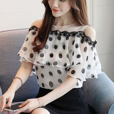 Female chiffon shirt polka dots print collar off-the-shoulder item code 917 Ladies Trouser Suits, Trousers Women, Chiffon Shirt, Chiffon Tops, Print Chiffon, Sleeveless Blouse, Korean Blouse, Mode Ulzzang, Sleeves Designs For Dresses