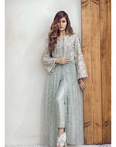 Tint blue embroidered ready to wear 2 piece dress by Suffuse by Sana Yasir semi formals 2018 - La Fashionista Dresses Elegant, Pakistani Dresses Casual, Indian Fashion Dresses, Dress Indian Style, Pakistani Dress Design, Abaya Fashion, Muslim Fashion, Stylish Dresses, Indian Outfits