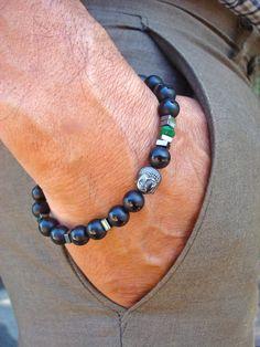 Men's Spiritual Tibetan Buddha Bracelet with Semi Precious Matte Onyx, Emerald Jade, Hematites, Wood - Serenity, Fortune Yoga Man Bracelet by tocijewelry on Etsy