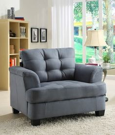 St. Charles Blue Grey Padded Microfiber Chair Furniture