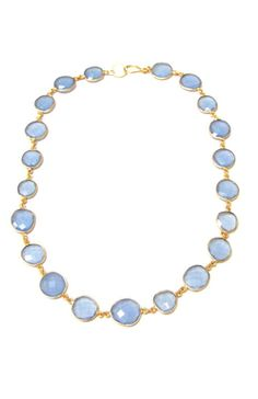 """Lavender Chalcedony gemstones are faceted and set in vermeil, finished with a 14kt gold filled lobster claw clasp. Total length is 18"""". Colorful, yet subtle and sophisticated."""