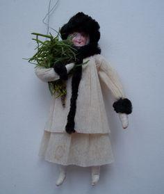 Old Spun Cotton Crepe Paper Figure Christmas Ornament | eBay