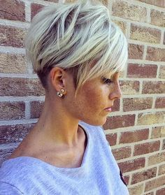 short hair-short hair cuts for women-short hair styles-short hair cuts- white blonde- textured hair cut- pixie cut- under cut- dark roots- icy blonde- platinum