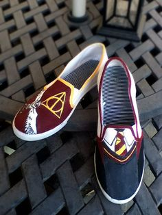 Harry Potter Shoes made to order by FandomSkoene on Etsy, $35.00 or make my own slytherin ones lol