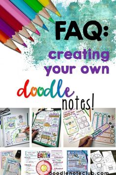 "Creating your own doodle notes opens up a world of possibilities! You probably know by now all of the incredible brain benefits, like memory and retention, and the added bonuses, like engagement and relaxation. Here are some ""secrets"" to creating your own awesome doodle notes! Free Doodles, Cool Doodles, Tools For Teaching, Creative Teaching, Teaching Ideas, Interactive Word Wall, Interactive Notebooks, Note Taking Strategies, Science Doodles"