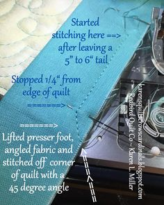 Today I'm excited to share a Mitered & Flanged Machine Binding Tutorial. *** It's fun, saves time and looks awesome!! *** Don't be over... Sewing Machine Quilting, Quilting Tips, Free Motion Quilting, Quilting Tutorials, Sewing Tutorials, Jelly Roll Quilt Patterns, Star Quilt Patterns, Quilt Binding Tutorial, Bias Binding