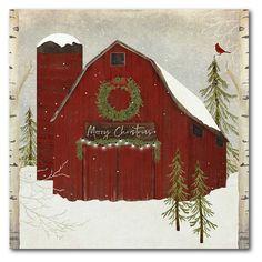 Christmas Drawing, Christmas Art, Xmas, Christmas Greetings, White Christmas, Vintage Christmas, Christmas Ideas, Red Barn Painting, Barn Paintings