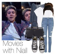 """""""REQUESTED: Movies with Niall"""" by style-with-one-direction ❤ liked on Polyvore featuring MANGO, Balmain, Topshop, Gorjana, Yves Saint Laurent, Converse, OneDirection, 1d, NiallHoran and niall horan one direction 1d"""