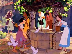Disney Crossover - At the Well Disney Crossovers, Disney Films, Disney And Dreamworks, Disney Cartoons, Disney Pixar, Disney Characters, Disney Princesses And Princes, Disney Princess Art, Disney Fan Art