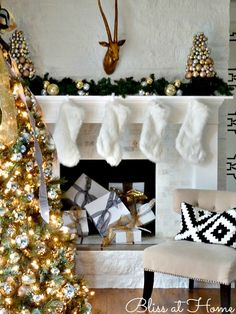Fun idea for an unused firebox...wrap boxes in ribbon and place them in the fireplace for a fun holiday touch!