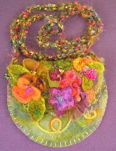 Needle Felt Garden Pouch-olive - Click Image to Close