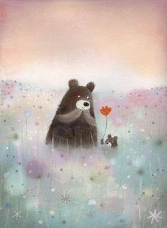 Illustration by Dubravka Kolanovic Art And Illustration, Illustration Mignonne, Urso Bear, Art D'ours, Art Mignon, Art Carte, Bear Art, Pastel Art, Cute Bears