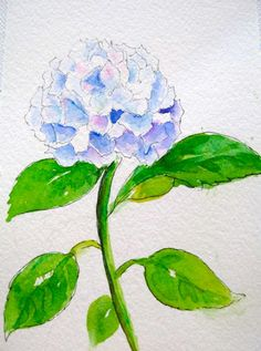 Hydrangea Original Watercolor Painting with by LeslieMicheleArt, $20.00