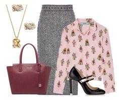 """Tweed Pencil Skirt"" by dana-debanks ❤ liked on Polyvore featuring Valentino, Prada, Jimmy Choo, Kate Spade and MICHAEL Michael Kors"