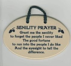 Senility Prayer Stoneware Plaque Ornament - Funny Birthday Gift - Made in…